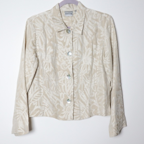 Chico's Jackets & Blazers - Chico's | Silk and Linen Buttoning Jacket